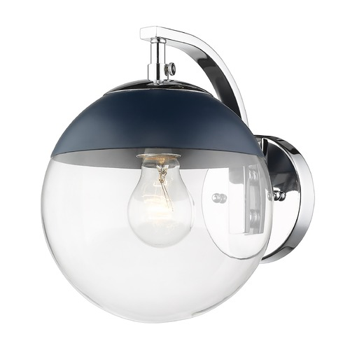 Golden Lighting Golden Lighting Dixon Chrome Sconce with Matte Navy Accent 3219-1WCH-MNVY