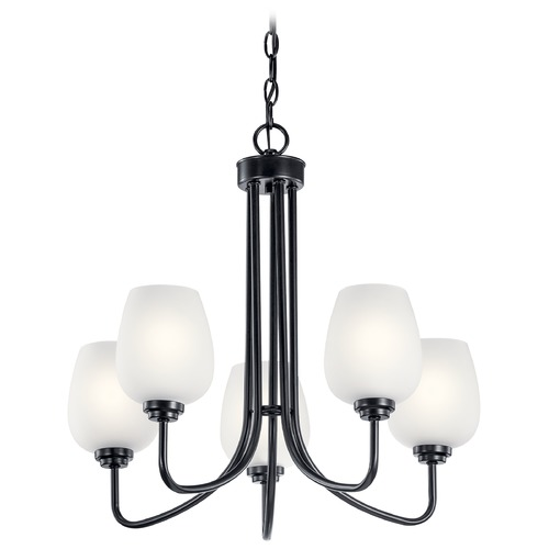 Kichler Lighting Valserrano 5-Light Black Chandelier with Satin Etched Glass Shade 44377BK