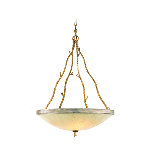 Corbett Lighting Pendant Light with Beige / Cream Glass in Gold and Silver Leaf Finish 66-44