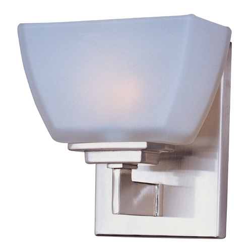Maxim Lighting Modern Sconce with White Glass in Satin Nickel Finish 9031SWSN