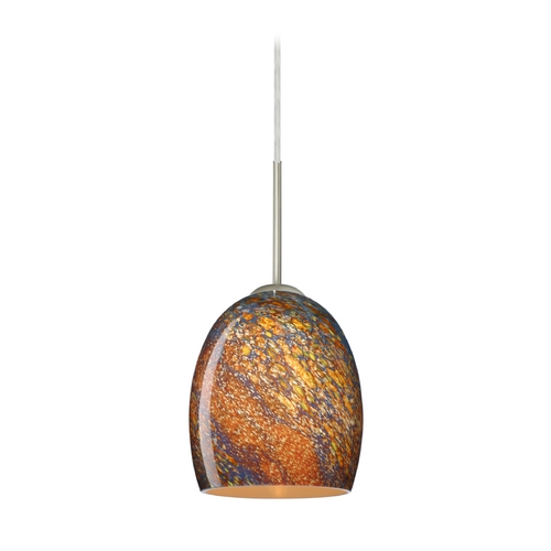 Besa Lighting Modern Pendant Light with Multi-Color Glass in Satin Nickel Finish 1JT-1697CE-SN