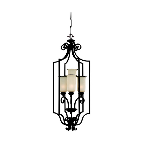 Sea Gull Lighting Lantern Pendant Light with Champagne Seeded Glass in Bronze Finish 51146-814
