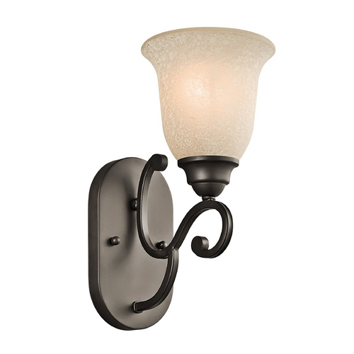 Kichler Lighting Kichler Sconce Wall Light with White Scavo Glass in Olde Bronze Finish 45421OZ