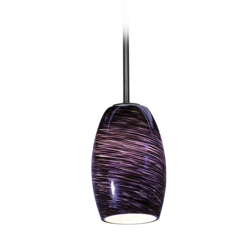 Access Lighting Modern Mini-Pendant Light with Purple Glass 28078-2R-ORB/PLS
