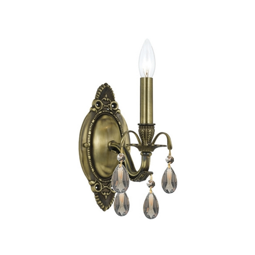 Crystorama Lighting Crystal Sconce Wall Light in Antique Brass Finish 5561-AB-GT-MWP