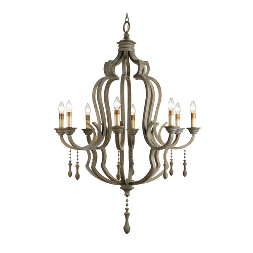 Currey and Company Lighting Chandelier in Washed Gray Finish 9010