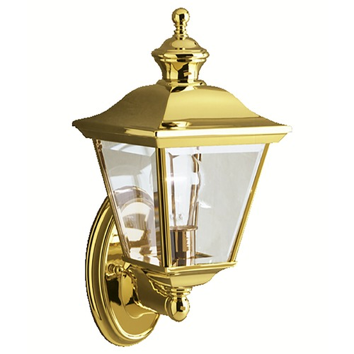 Kichler Lighting Kichler Outdoor Wall Light with Clear Glass in Polished Brass Finish 9713PB