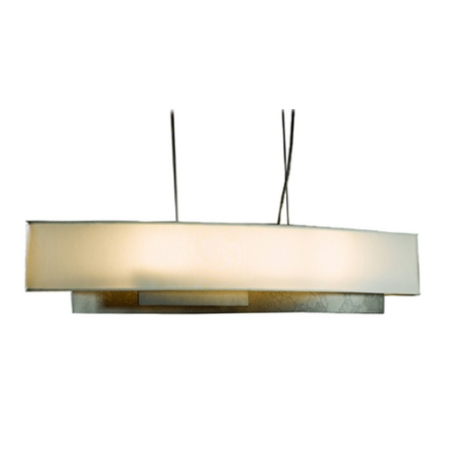 Hubbardton Forge Lighting Island Pendant Light with Oval Lamp Shade and Four Lights 137650-07-599
