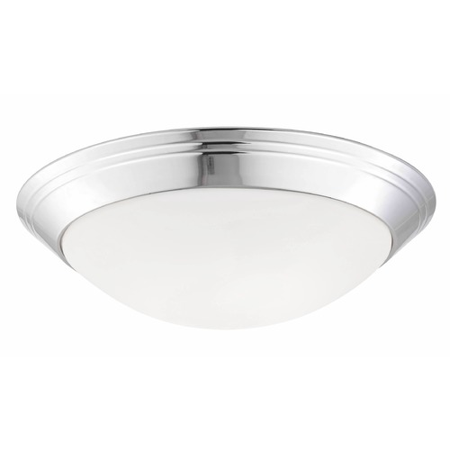 Design Classics Lighting Chrome Ceiling Light with Opal White Glass - 14-Inches Wide 1014-26/W