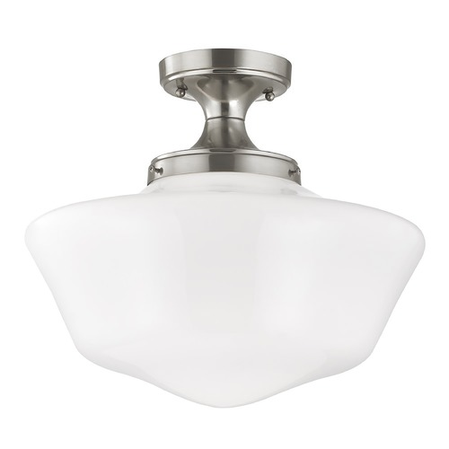 Design Classics Lighting 16-Inch Wide Schoolhouse Ceiling Light in Satin Nickel Finish FES-09/ GA16