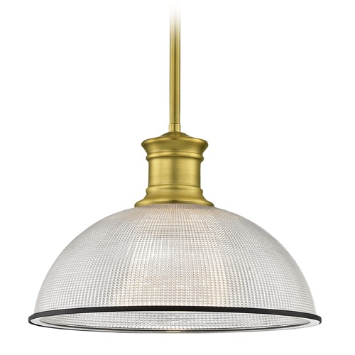 Design Classics Lighting Farmhouse Pendant Light Prismatic Glass Black / Brass 13.13-Inch Wide 1761-12 G1780-FC R1780-07