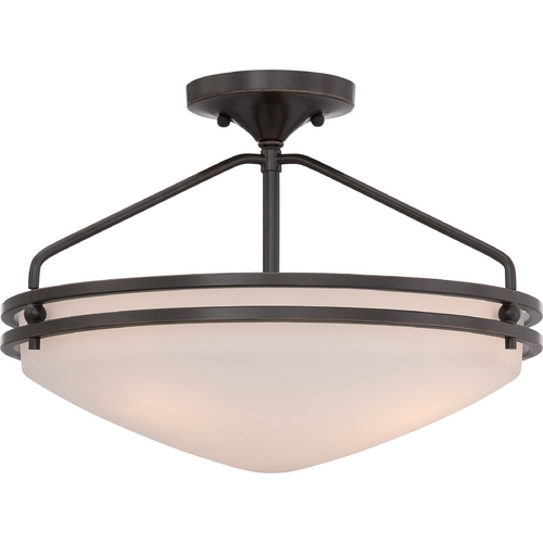 Quoizel Lighting Quoizel Ozark Palladian Bronze Semi-Flushmount Light OZ1716PN