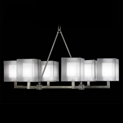 Fine Art Lamps Fine Art Lamps Quadralli Silver Leafed Island Light with Square Shade 331440-2ST