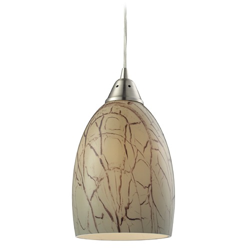 Elk Lighting Elk Lighting Crackle Satin Nickel Mini-Pendant Light with Bowl / Dome Shade 31376/1