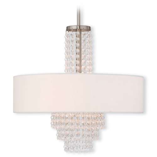 Livex Lighting Livex Lighting Carlisle Brushed Nickel Pendant Light with Drum Shade 51033-91