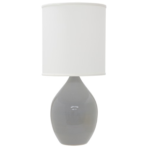 House of Troy Lighting House Of Troy Scatchard Gray Gloss Table Lamp with Cylindrical Shade GS401-GG