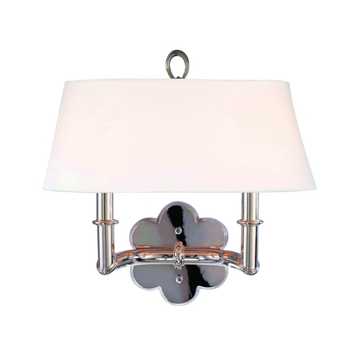 Hudson Valley Lighting Sconce Wall Light with White Shade in Polished Nickel Finish 922-PN