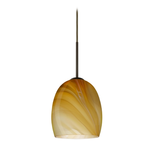 Besa Lighting Modern Pendant Light with Brown Glass in Bronze Finish 1JT-1697HN-BR