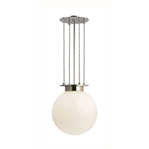 Hudson Valley Lighting Pendant Light with White Glass in Polished Nickel Finish 4217-PN-OP