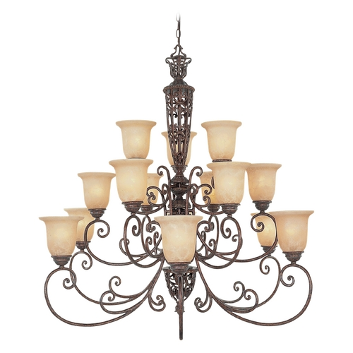 Designers Fountain Lighting Chandelier with Beige / Cream Glass in Burnt Umber Finish 975815-BU