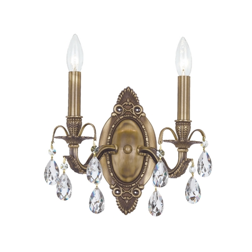 Crystorama Lighting Crystal Sconce Wall Light in Antique Brass Finish 5562-AB-CL-MWP