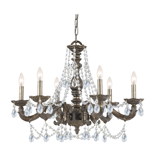 Crystorama Lighting Crystal Chandelier in Venetian Bronze Finish 5026-VB-CL-SAQ