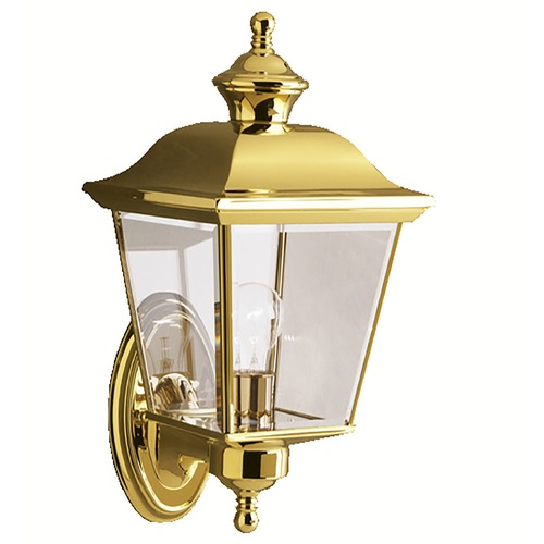 Kichler Lighting Kichler Outdoor Wall Light with Clear Glass in Polished Brass Finish 9712PB