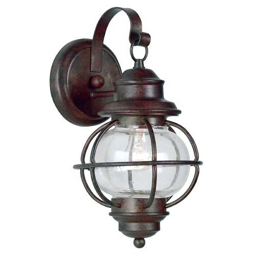 Kenroy Home Lighting Outdoor Wall Light with Clear Glass in Gilded Copper Finish 90961GC