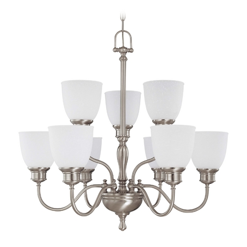 Nuvo Lighting Chandelier with White Glass in Brushed Nickel Finish 60/2779