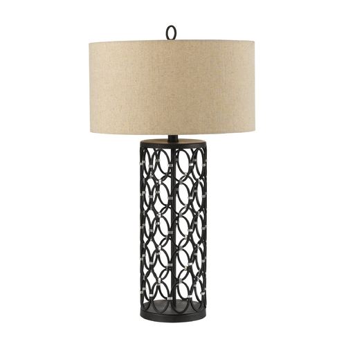 AF Lighting Table Lamp with Beige / Cream Shade in Oil Rubbed Bronze Finish 8100-TL