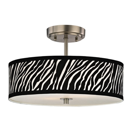 Design Classics Lighting Zebra Ceiling Light with Drum Shade in Nickel Finish - 16 Inches Wide DCL 6543-09 SH9470