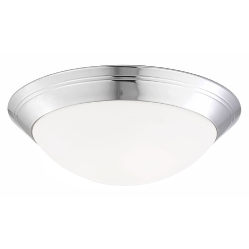 Design Classics Lighting Chrome Ceiling Light with Opal White Glass - 16-Inches Wide 1016-26/W