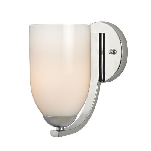 Design Classics Lighting Polished Chrome Wall Sconce with Opal White Glass Shade 585-26 GL1024D