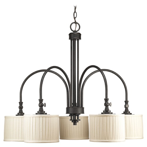 Progress Lighting Progress Chandelier with Beige / Cream Shades in Espresso Finish P4422-84