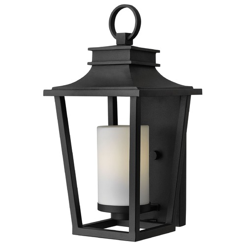 Hinkley Lighting Outdoor Wall Light with White Glass in Black Finish 1744BK