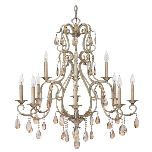 Hinkley Lighting Crystal Chandelier in Silver Leaf Finish 4778SL