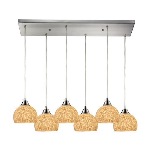 Elk Lighting Modern Multi-Light Pendant Light with Beige / Cream Glass and 6-Lights 10143/6RC-PW