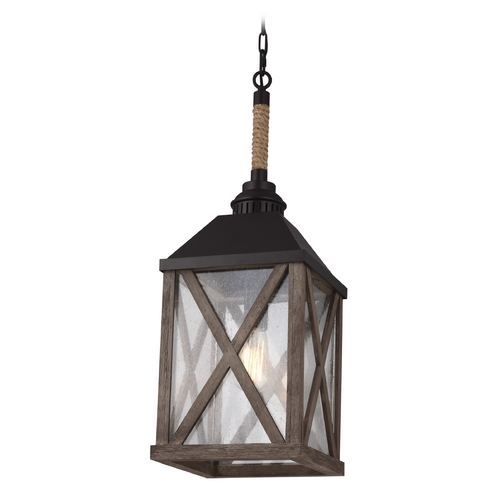 Feiss Lighting Feiss Lighting Lumiere Dark Weathered Oak / Oil Rubbed Bronze Mini-Pendant Light with Rectangle Shad F2956/1DWO/ORB