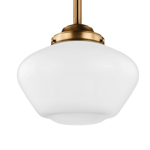 Feiss Lighting Schoolhouse Pendant Light Opal Glass Brass 13.875-Inch Wide by Feiss Lighting P1387AGB