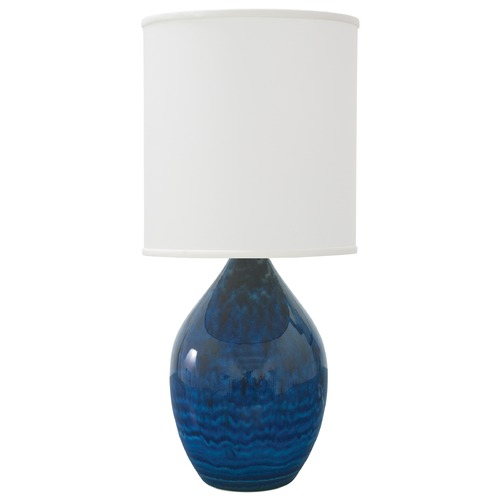 House of Troy Lighting House Of Troy Scatchard Midnight Blue Table Lamp with Cylindrical Shade GS401-MID