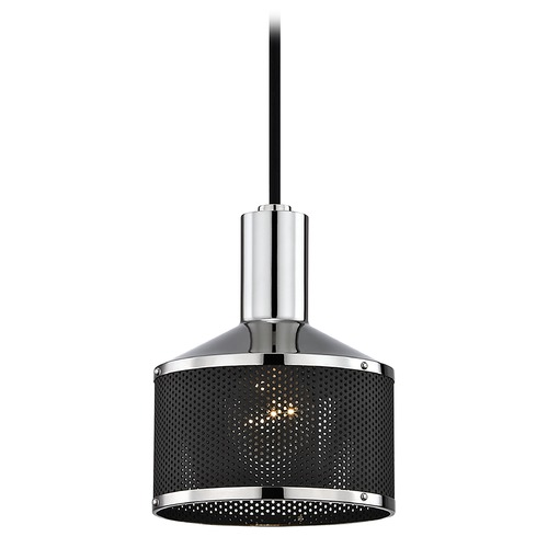 Hudson Valley Lighting Industrial Mini-Pendant Light Polished Nickel Mitzi Yoko by Hudson H119701-PN/BK