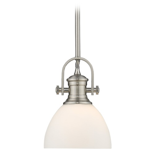 Golden Lighting Golden Lighting Hines Pewter Mini-Pendant Light with Opal Dome Shade 3118-M1LPW-OP
