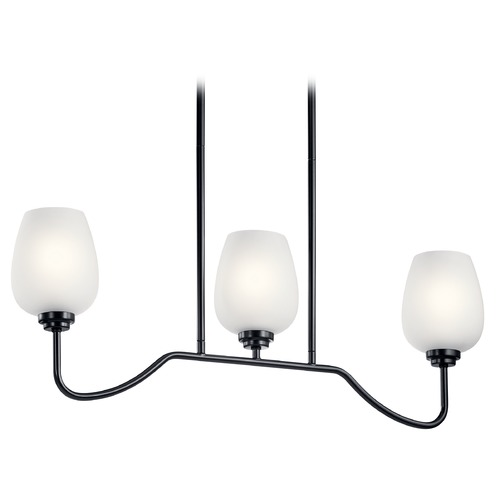 Kichler Lighting Valserrano 3-Light Black Chandelier with Satin Etched Glass Shade 44379BK
