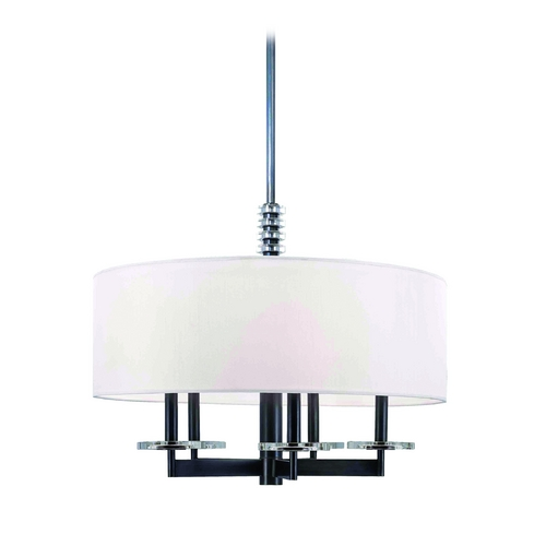 Hudson Valley Lighting Modern Drum Pendant Light with White Shade in Old Bronze Finish 8824-OB