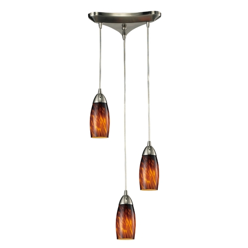 Elk Lighting Modern Multi-Light Pendant Light with Brown Glass and 3-Lights 110-3ES