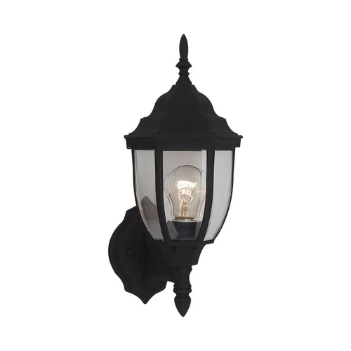 Sea Gull Lighting Outdoor Wall Light with Clear Glass in Black Finish 88940-12