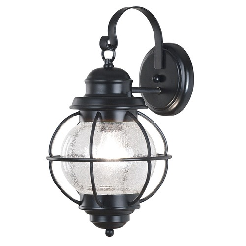 Kenroy Home Lighting Seeded Glass Outdoor Wall Light Black Kenroy Home Lighting 90962BL
