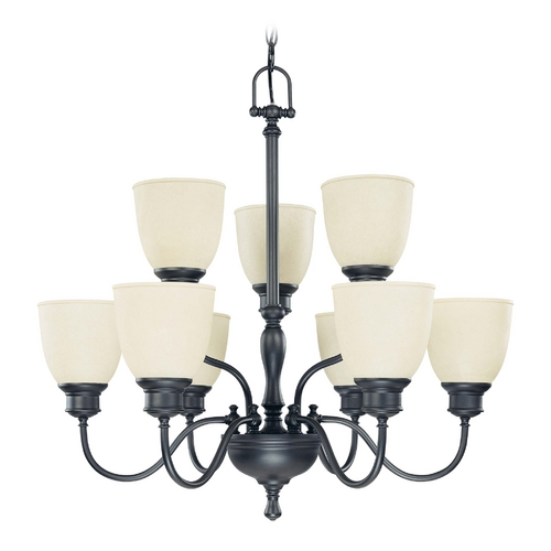 Nuvo Lighting Chandelier with Beige / Cream Glass in Aged Bronze Finish 60/2781