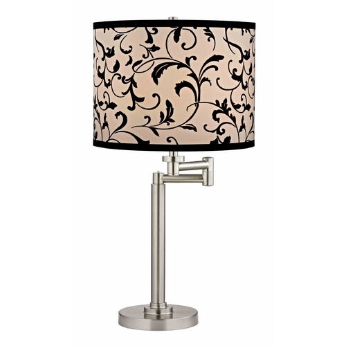 Design Classics Lighting Swing Arm Table Lamp with Black Filigree Lamp Shade 1902-09 SH9515