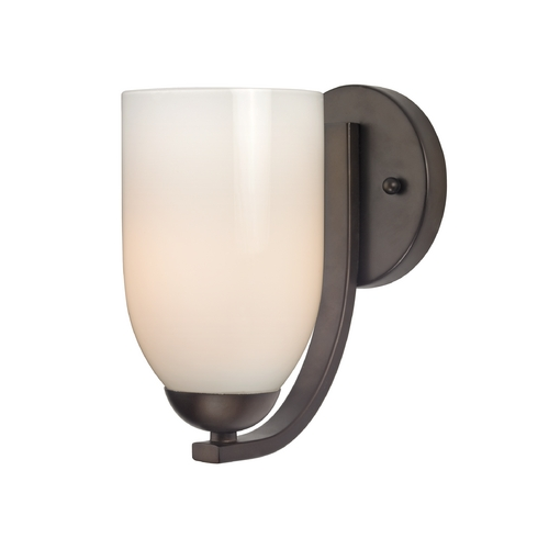 Design Classics Lighting Bronze Wall Sconce with Opal White Dome Glass Shade 585-220 GL1024D